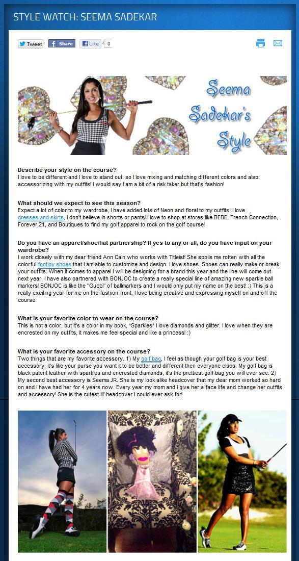 Seema Sadekar LPGA Symetra Tour Style Feature Story
